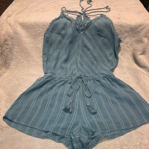 Blue romper shorts by forever 21